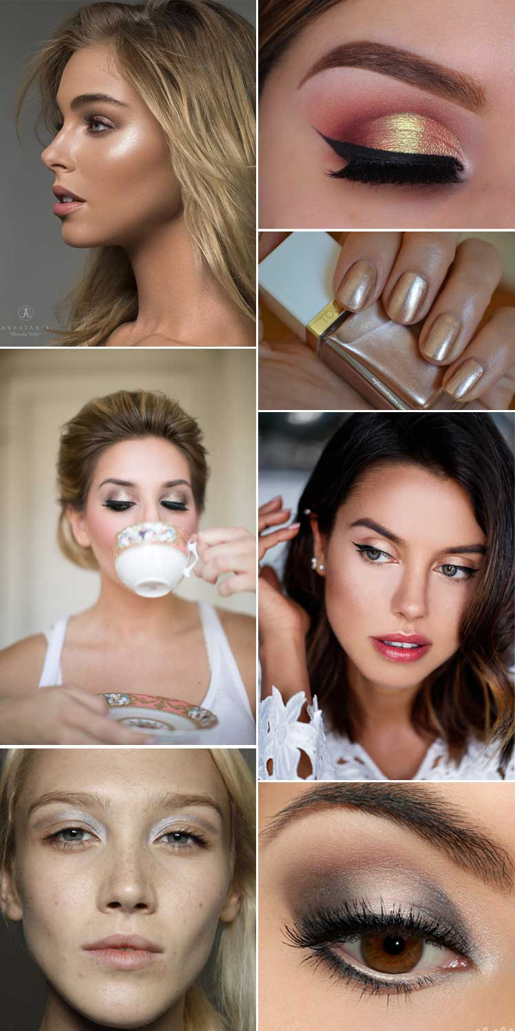 gorgeous metallic wedding makeup ideas