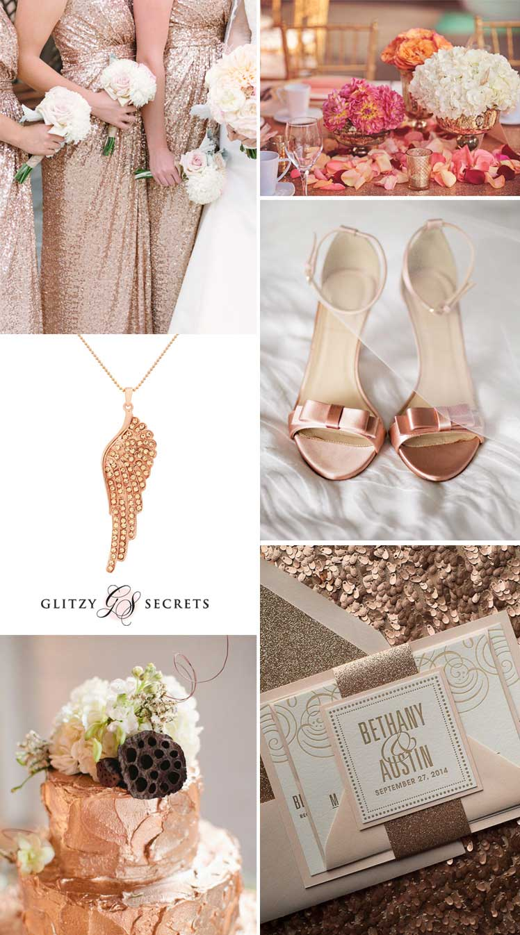 glittering metallice weddings - rose gold