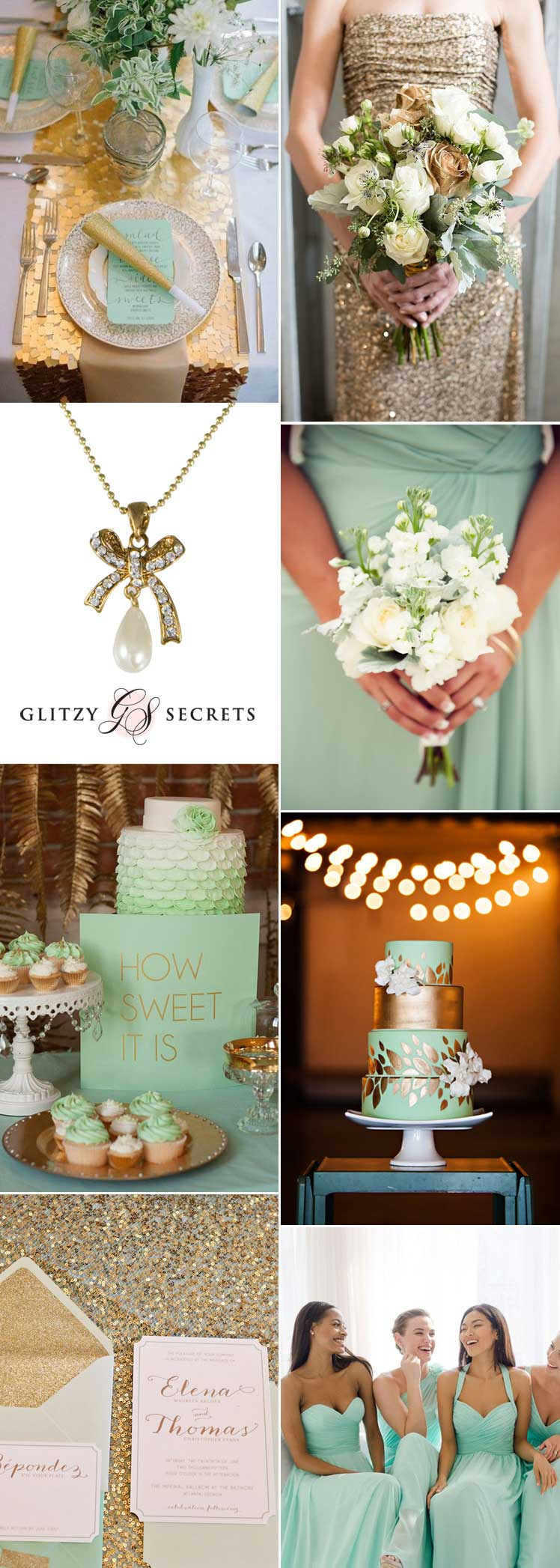 pretty mint and gold wedding ideas
