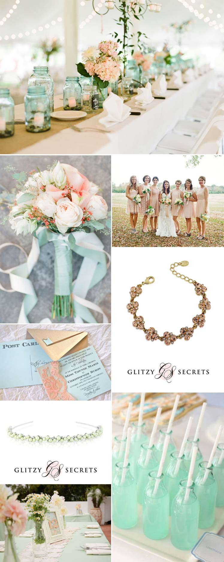 beautiful mint and peach wedding inspiration