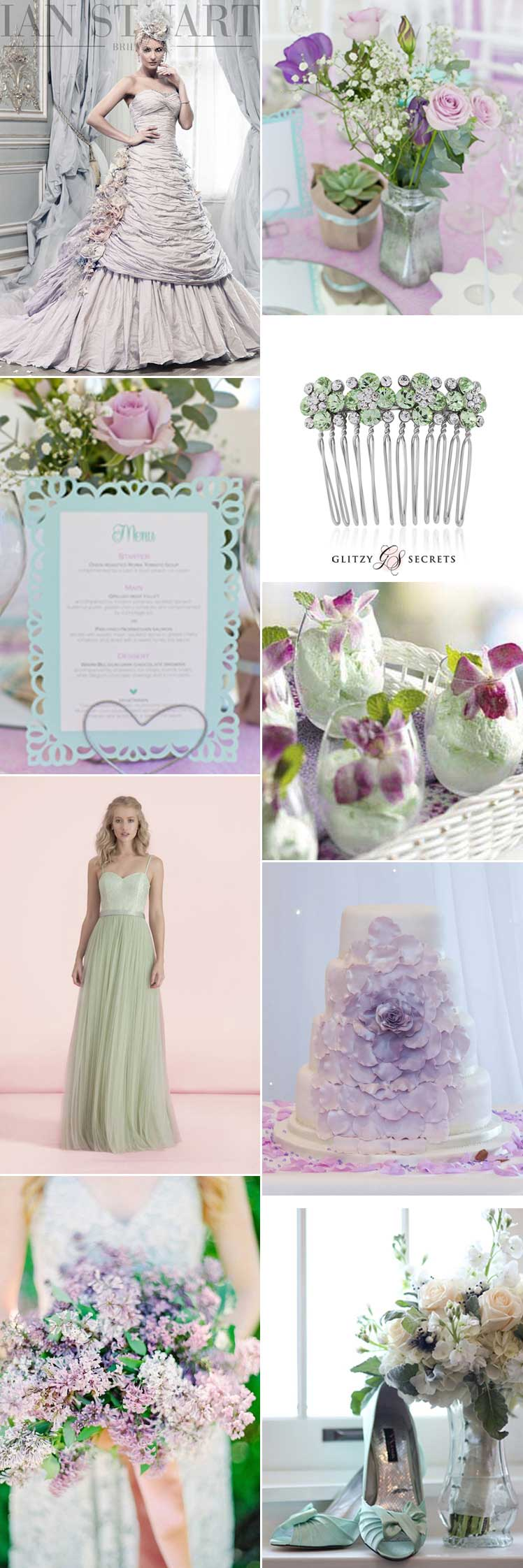 Inspiration for a lilac and mint wedding theme