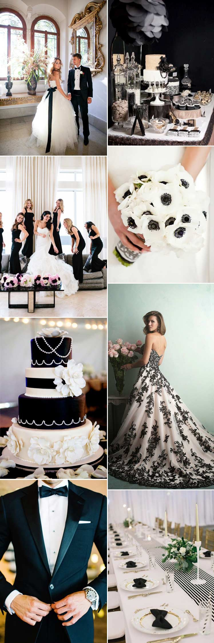 Black and white monochrome wedding inspiration