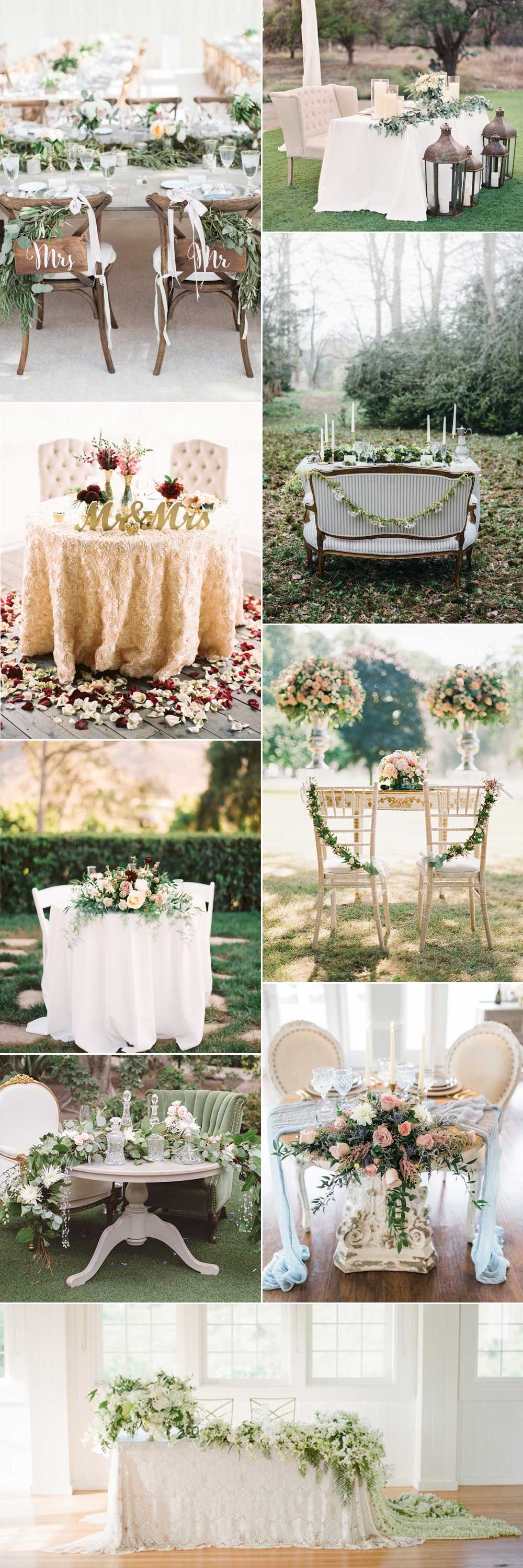 Sweetheart wedding tables for two