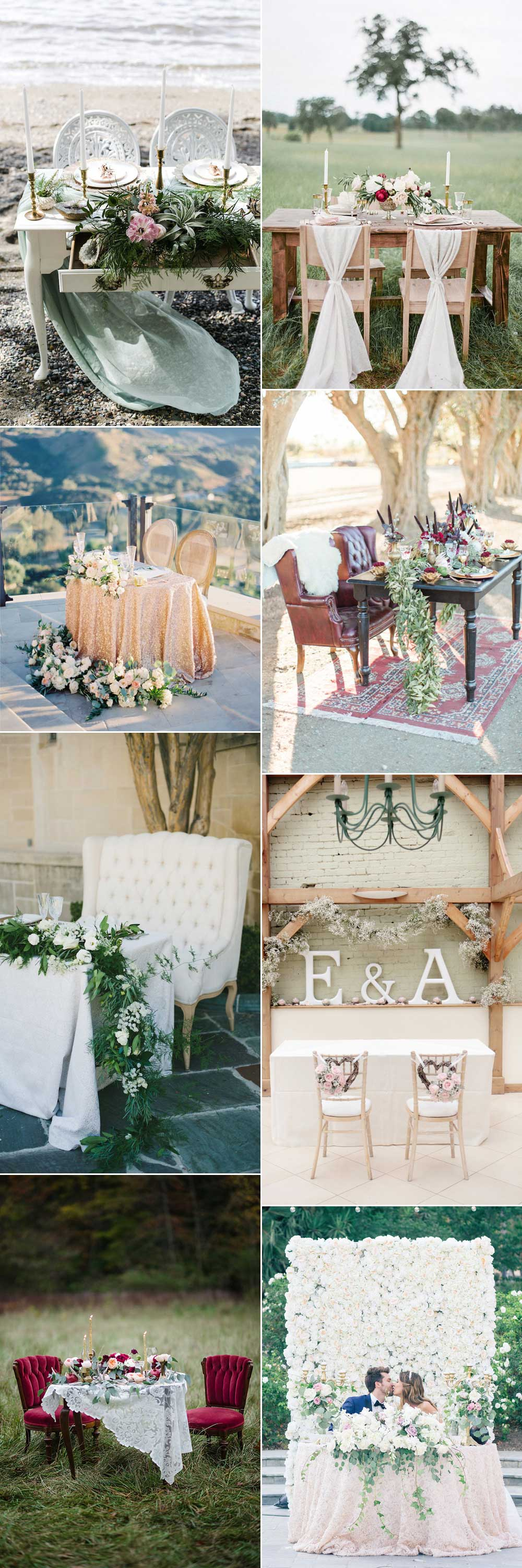Ideas for wedding tables for two