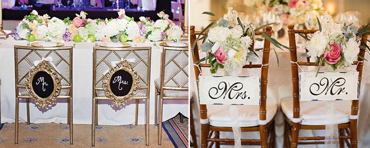 Mr and Mrs top table wedding chair decorations