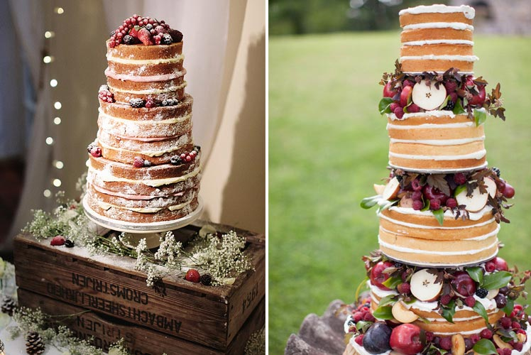 Naked wedding cakes for Autumn