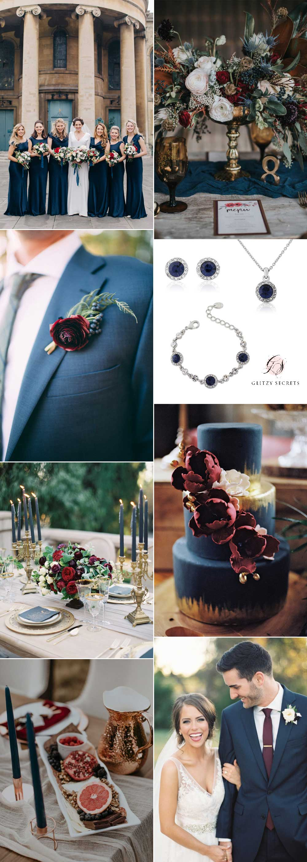 autumn wedding theme navy and burgundy