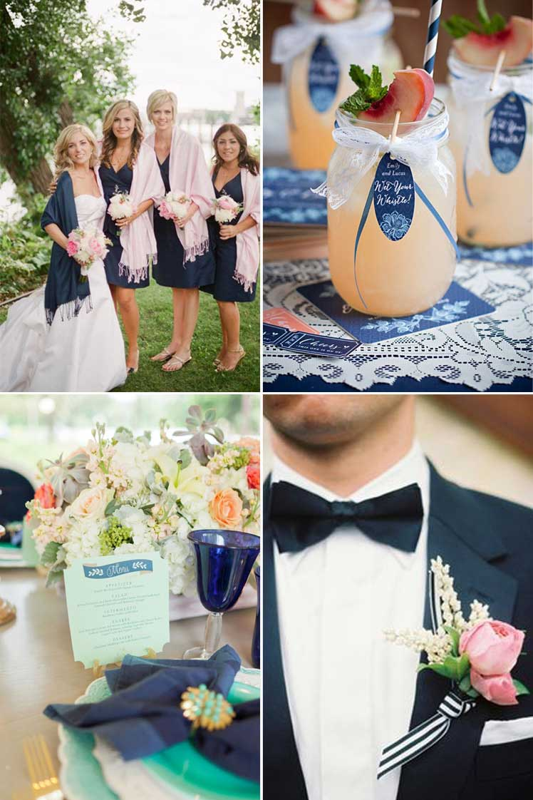 combine pastel shades with navy for an elegant wedding theme