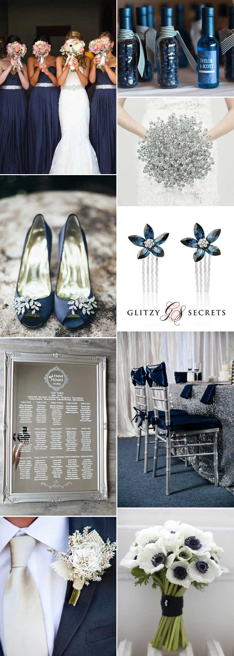 gorgeous navy and silver wedding ideas