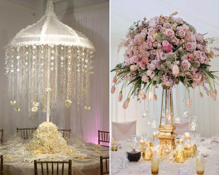 dramatic wedding table centrepieces