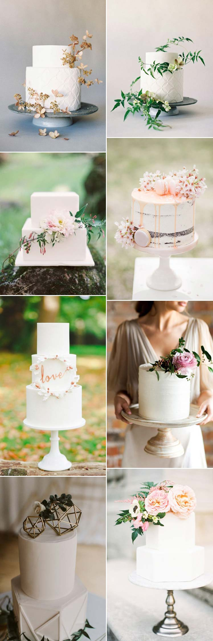 elegant non-traditional white wedding cakes