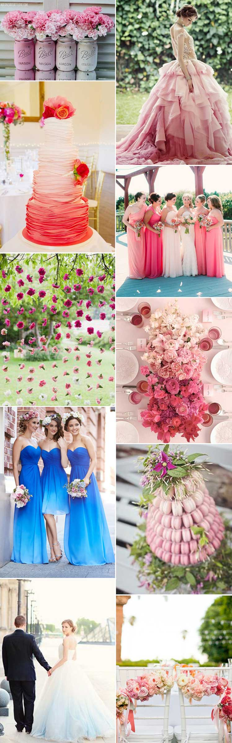 Ideas for an ombre wedding theme in every colour