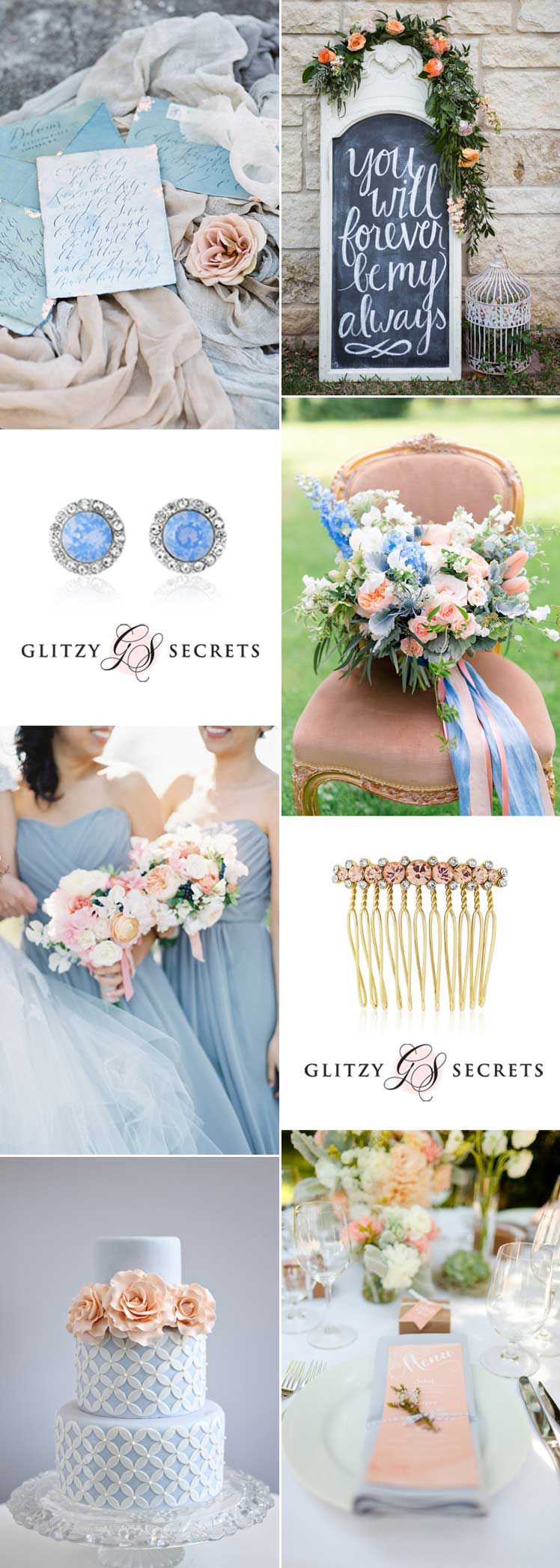 pretty peach and blue wedding inspiration