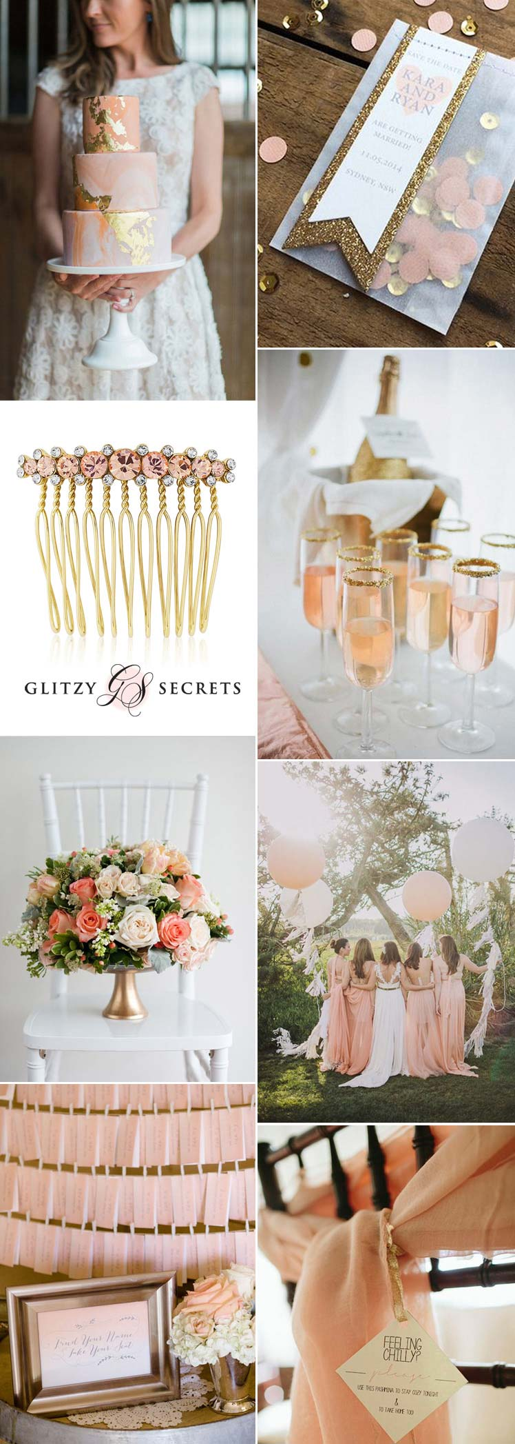 Beautiful ideas for a peach and gold wedding theme