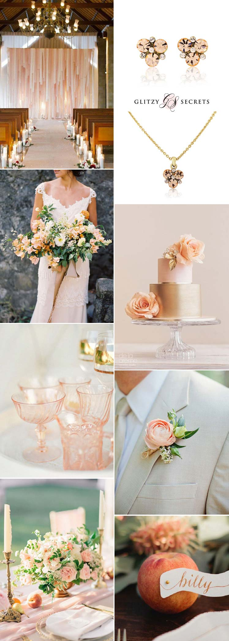 beautiful peach and gold wedding inspiration