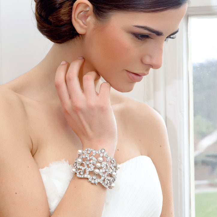 Collection of pearl wedding bracelets and bangles