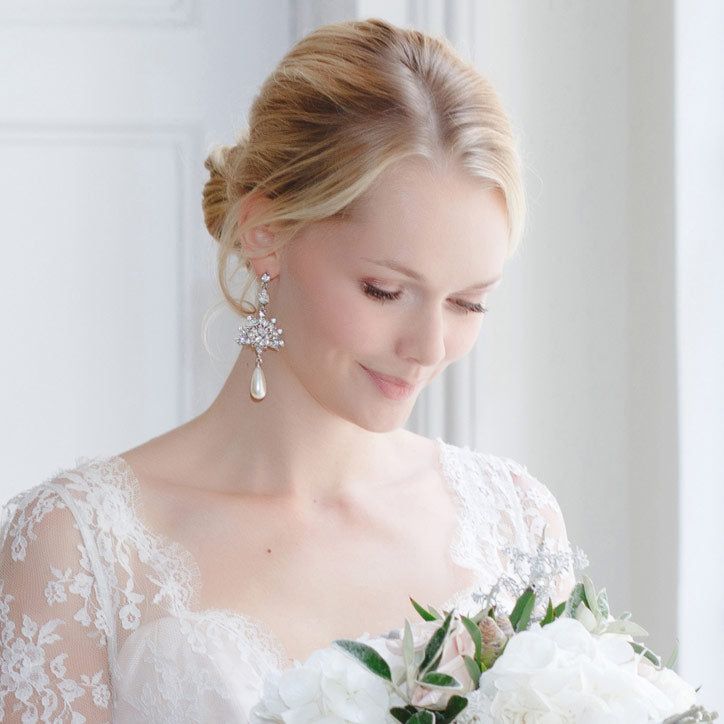 Stud, Drop and Chandelier Pearl Wedding Earrings