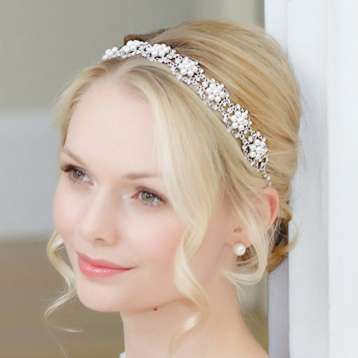 Collection of pearl wedding hair bands for brides