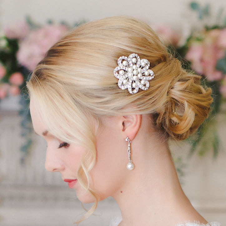 Collection of pearl wedding hair clips