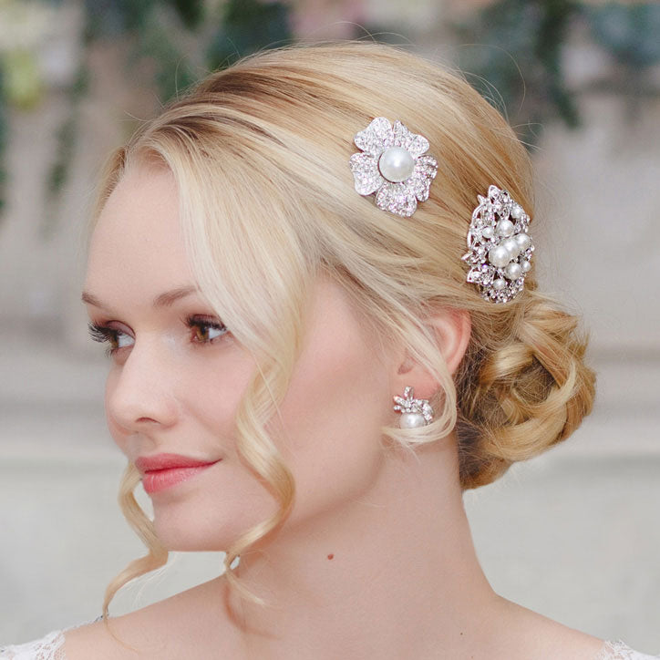 Collection of pearl wedding hair slides