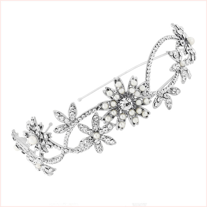 Pearl wedding side tiara collection