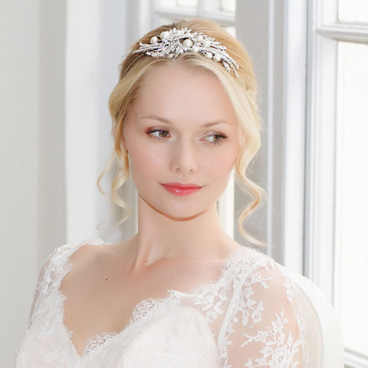Timeless and classic Pearl Wedding Tiaras