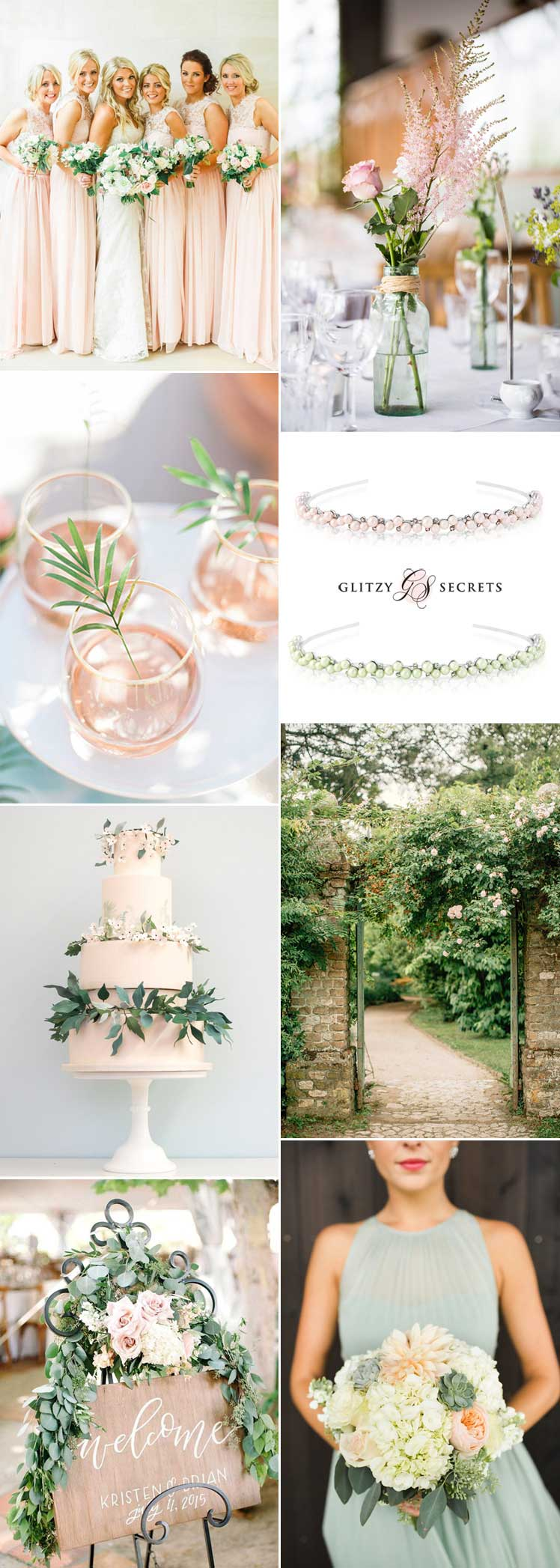 Pastel pink and green wedding inspiration ideas