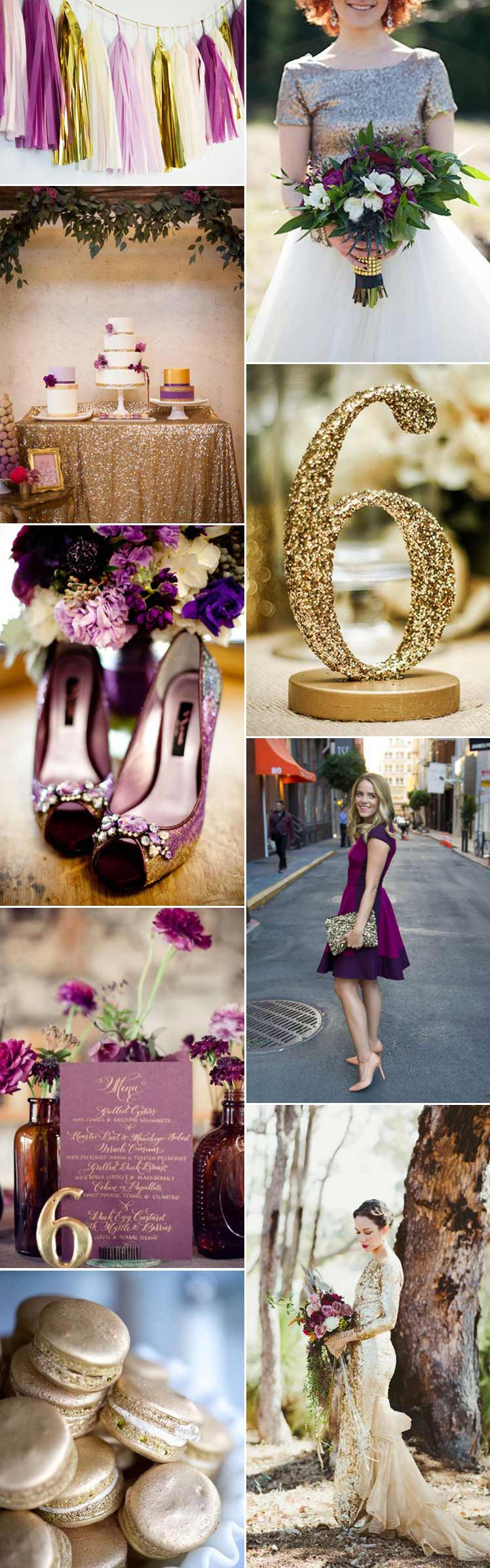 gorgeous wedding ideas incorporating plum and gold