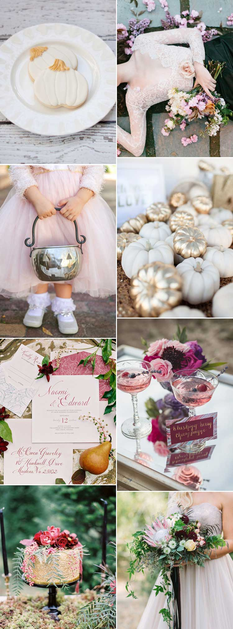 embrace a pretty pink halloween wedding theme