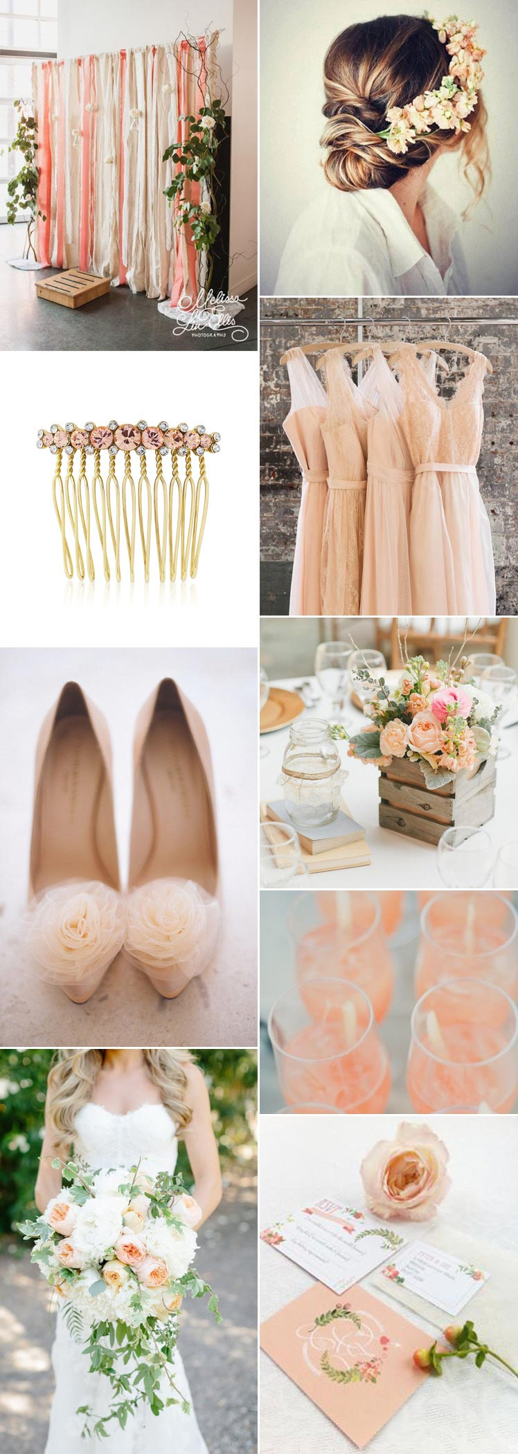 Pretty peach and cream wedding colour scheme ideas