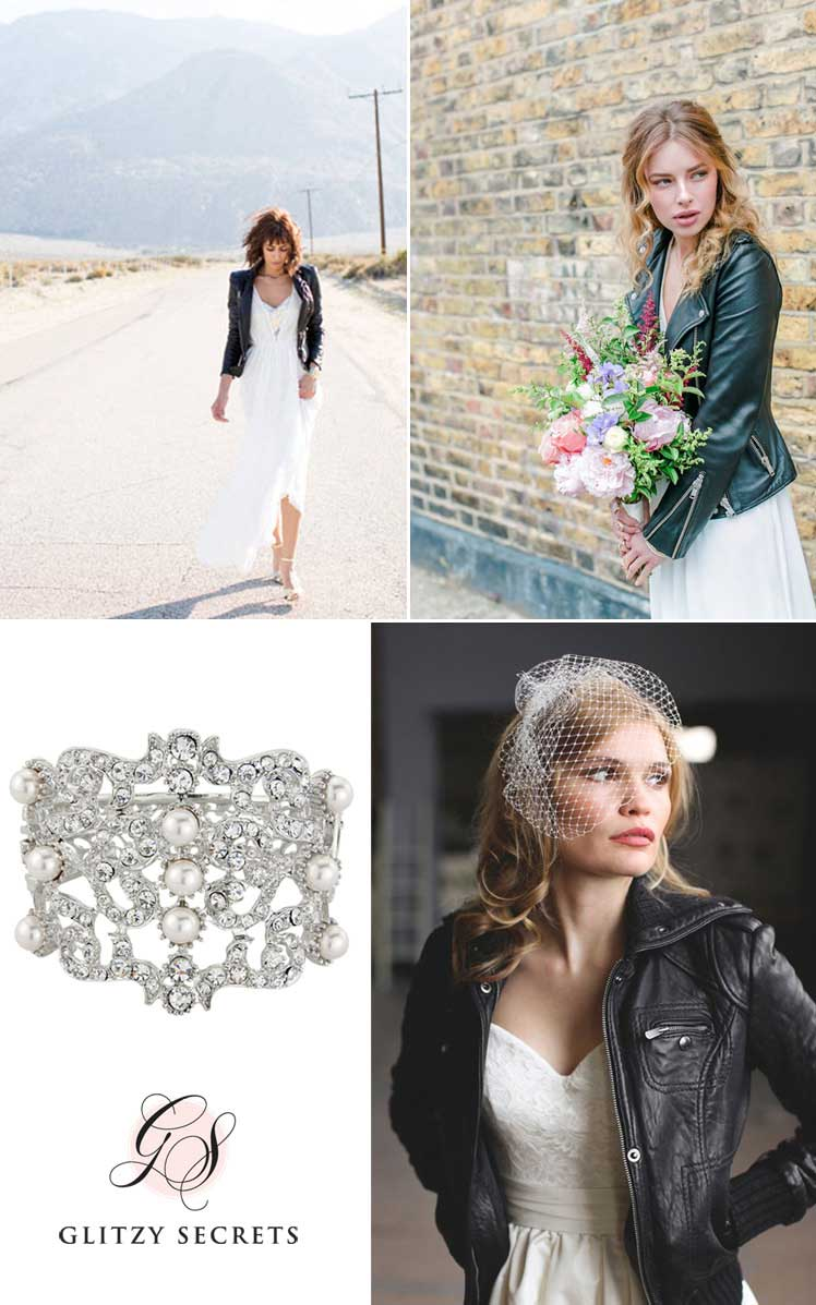 Go rock chick on your wedding day with a leather jacket