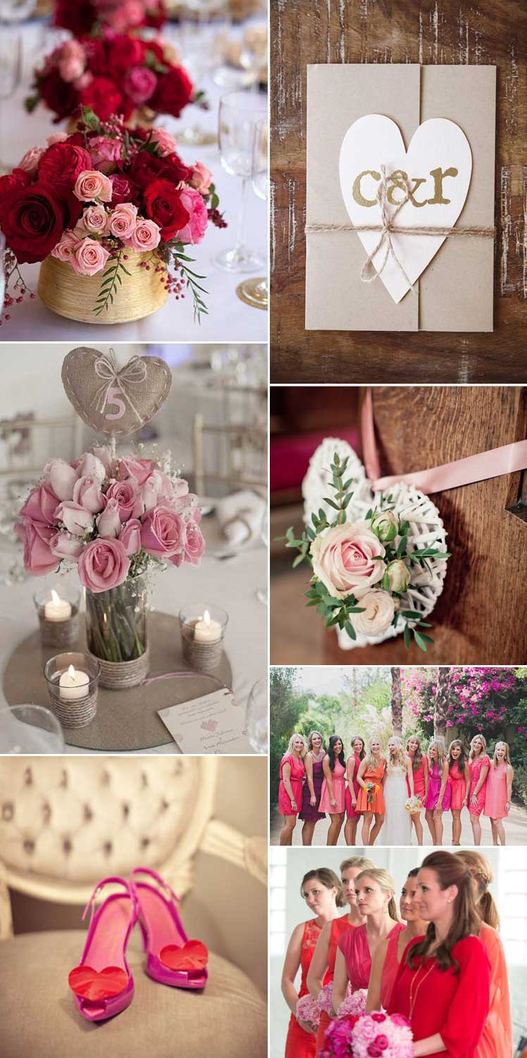 Inspiration for a Valentine romantic wedding theme