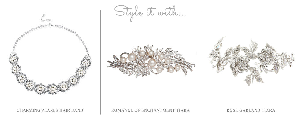 Style it with Charming Pearls Hair Band, Romance of Enchantment and Rose Garland Tiara