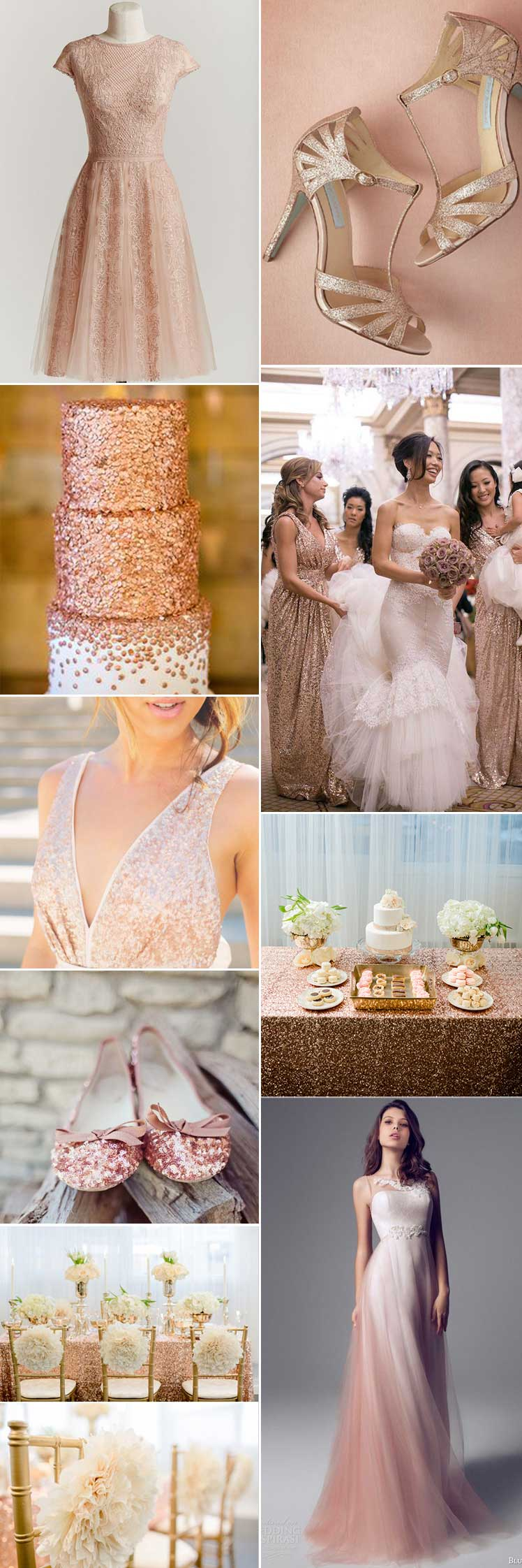 Inspiration for a metallic rose gold wedding day