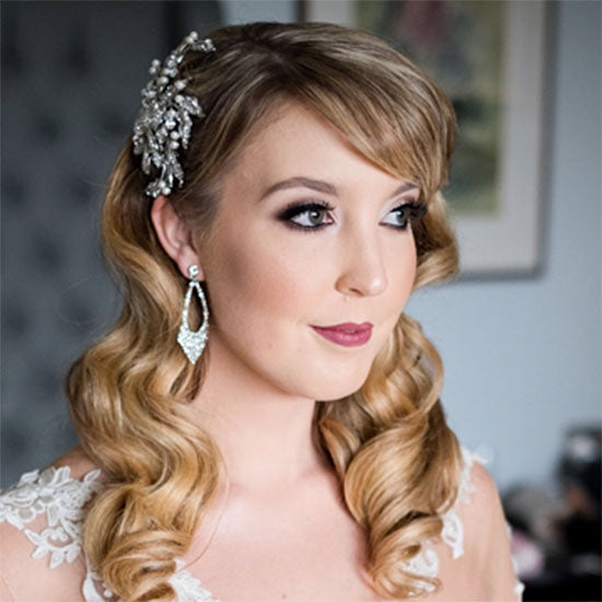 Sarah wears Trailing Petals Headpiece by Glitzy Secrets