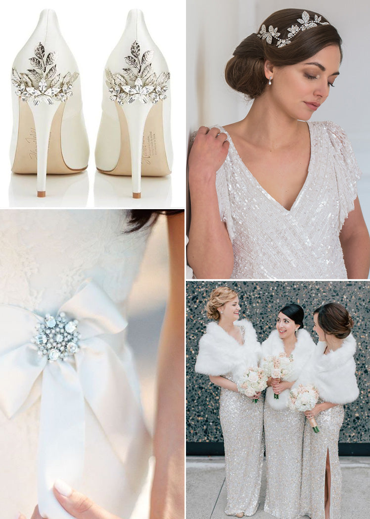 shimmering silver and pearl winter wedding accessories