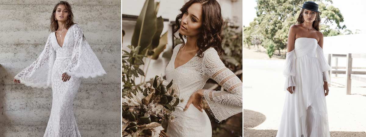 Wedding dresses with statement sleeves