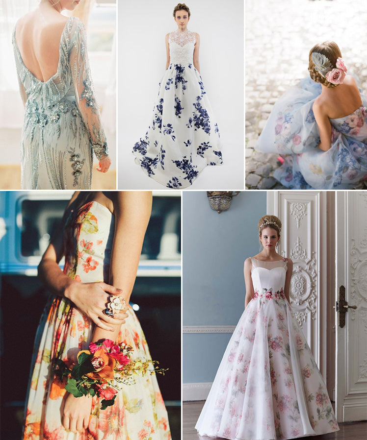 Something blue and beautiful floral print wedding dresses