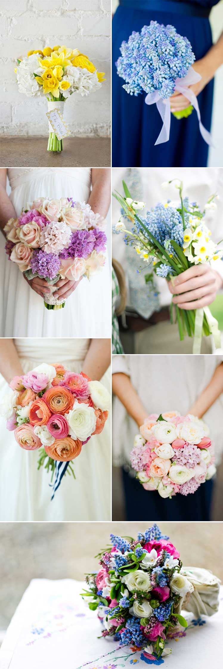 beautiful spring wedding bouquets for brides and bridesmaids