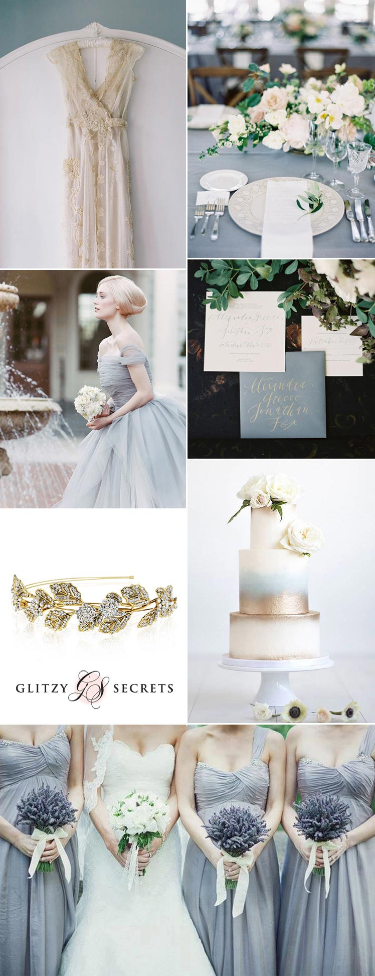 dusky blue and antique gold wedding inspiration