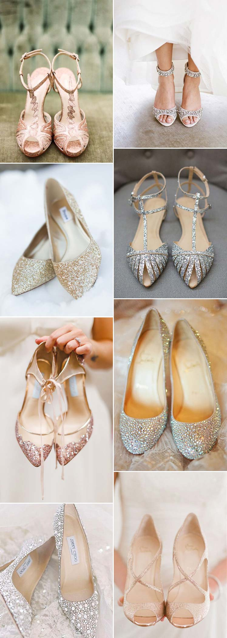 beautiful sparkling bridal shoes