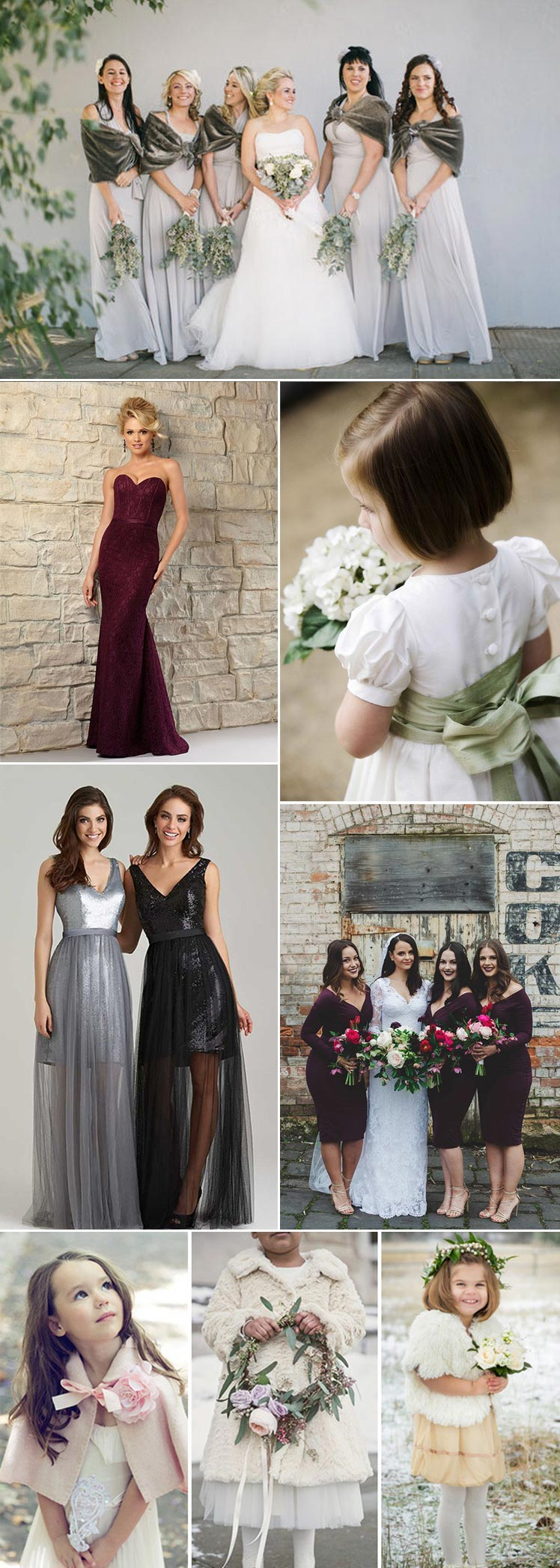 Ideas for your bridesmaid looks at your winter wedding