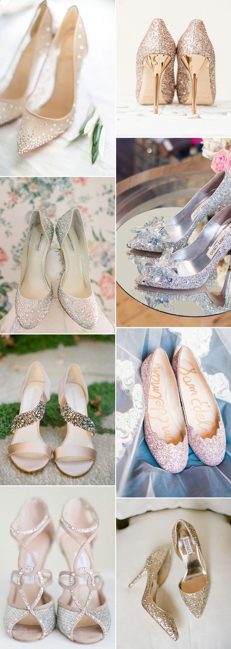 Sparkly wedding shoes for glamourous brides