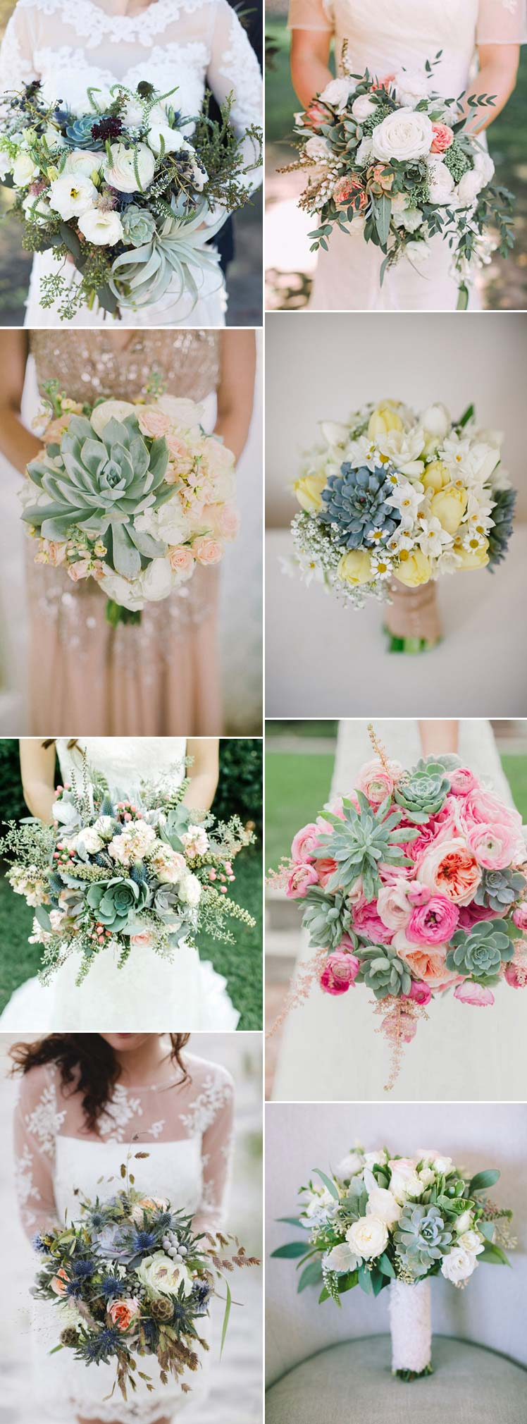 Beautiful Succulent Wedding Bouquet Ideas