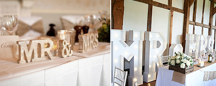 Decorative letters for the top table