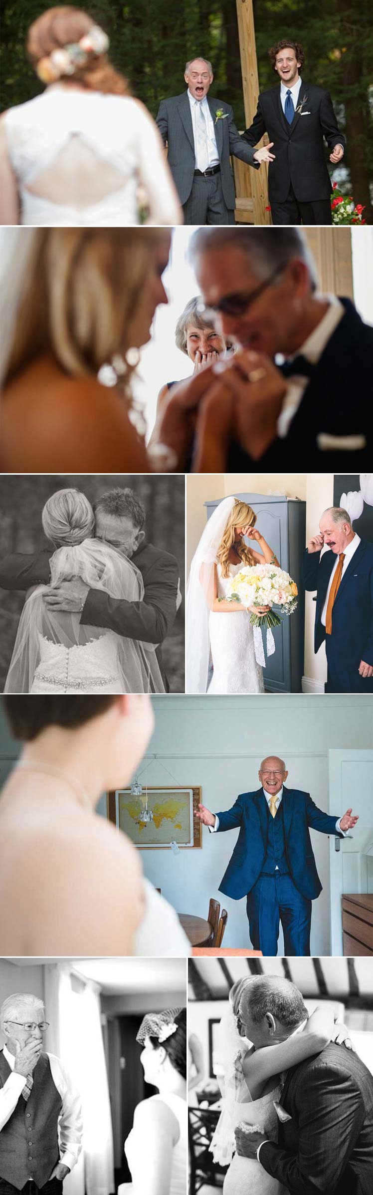 emotional first looks between the bride and her father