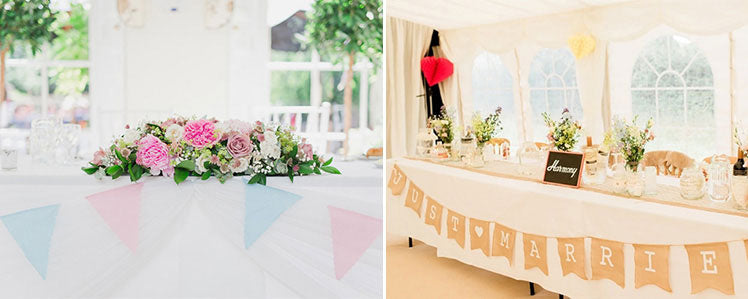 Top table bunting decorations