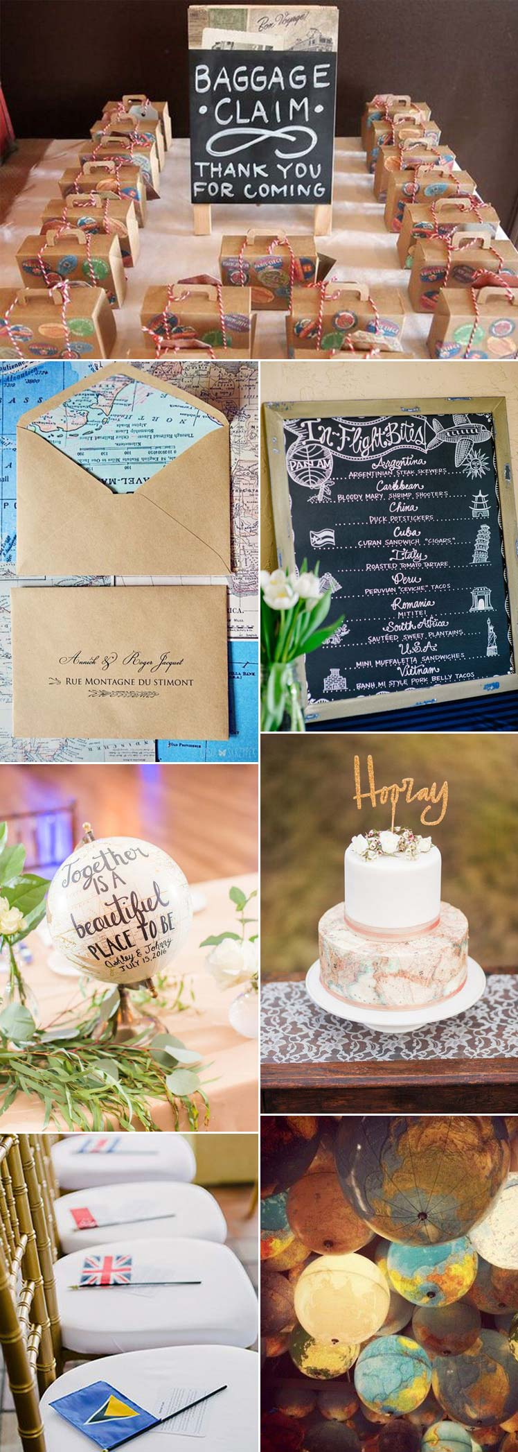 travel inspired ideas for a travel themed wedding
