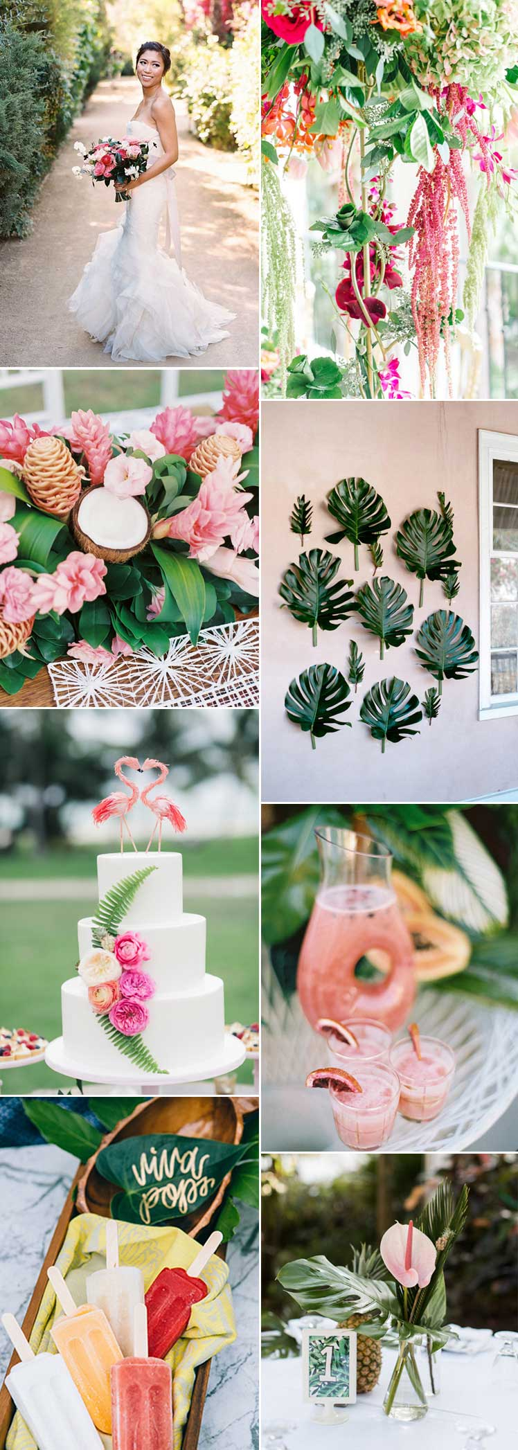 Tropical palm trees and peach wedding inspiration