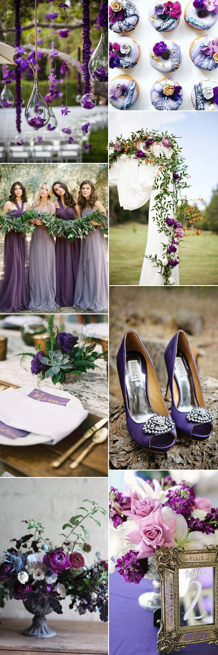 ideas for including pantone ultra violet hues in your wedding theme